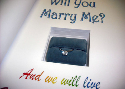 Proposal Book with cut out for ring (or other gift)